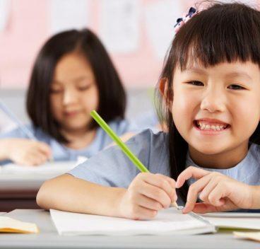 Kindergarten girl happy study